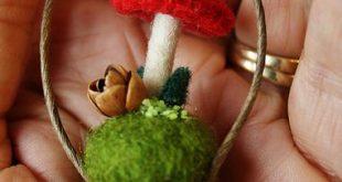 wool mushroom and stacked acorn caps